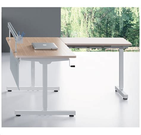 Adjustable Table L Strome 60h L Shape Adjustable Table Decor Viz System