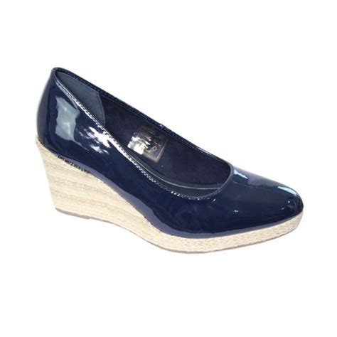 cortina navy patent wedge shoes