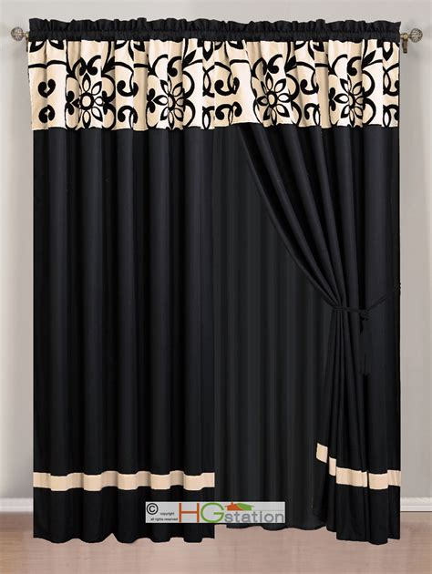 ivory and black curtains 4 p posh sunflower floral scroll curtain set black off