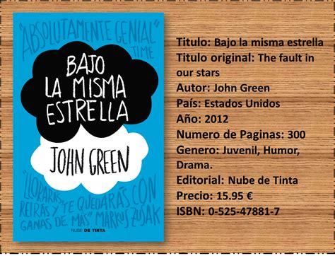 libro ena la novela rese 241 a bajo la misma estrella john green
