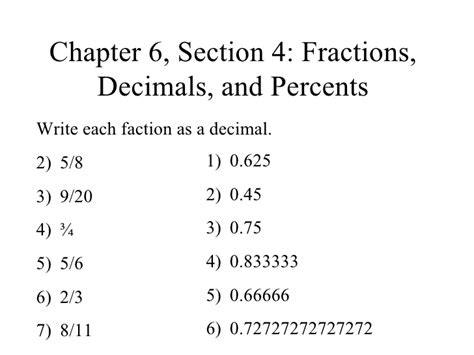 chapter 6 section 1 chapter 6 section 4 fractions decimals and percents