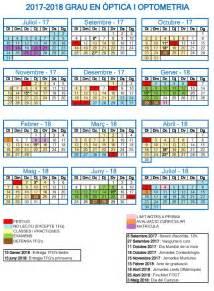 Calendario Upc Calendario Acad 233 Mico 2017 18 Facultad De 211 Ptica Y