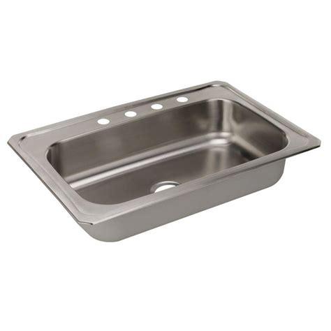 Single Bowl Drop In Kitchen Sink Elkay Drop In Stainless Steel 33 In 4 Single Bowl Kitchen Sink Crs33224 The