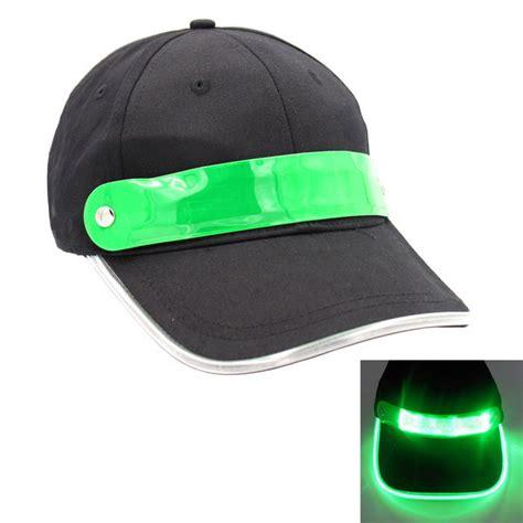 baseball cap with led lights safety led green lighting cotton baseball cap black green