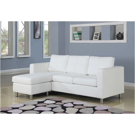 apartment size sofa with chaise lounge 2 pc kemen collection white leather like vinyl reversible