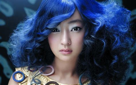 wallpaper blue hair beautiful blue haired asian girl wallpaper other