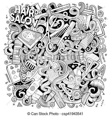 doodle hair vector doodles hair salon illustration