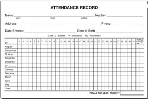 Free Printable Employee Attendance Form