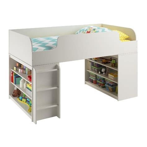 loft bed with bookcase loft bed with two bookcases in white 5853015pcom