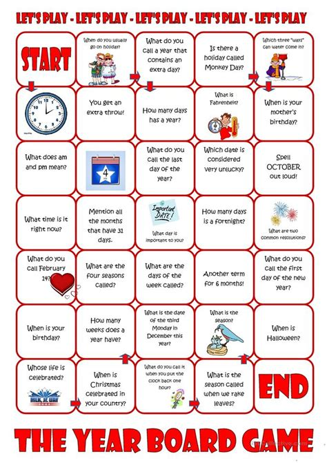 new year activities for esl students the year board worksheet free esl printable