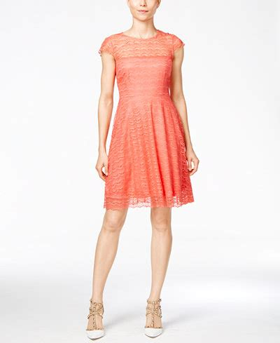 Becca Lace Fit To L open back lace fit flare dress dresses macy s