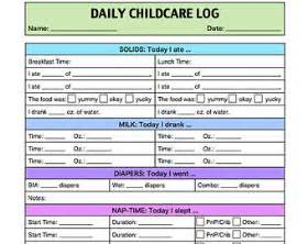 Daily childcare log for infants and toddlers caregiver summary report