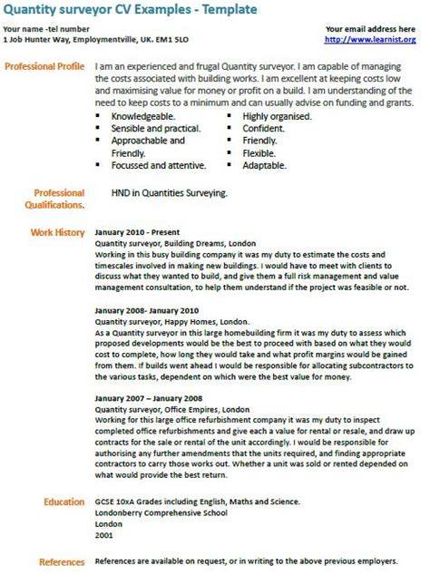 quantity surveyor cv example learnist org