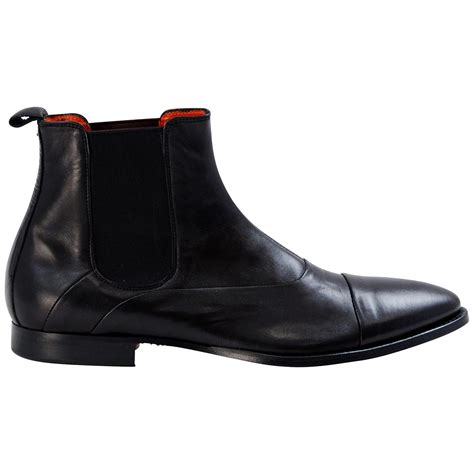 black nappa leather chelsea half boots paolo shoes