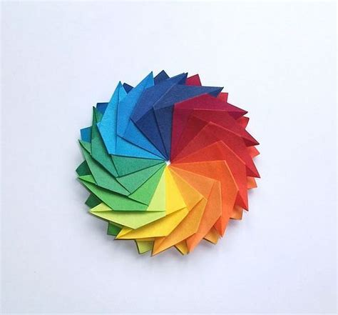 Origami Wheel - gear flower front side rainbow flower