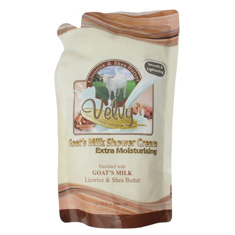 Velvy Shower 800 Ml Goats Milk Wgc velvy goat s milk s c moist lirorice shea butter