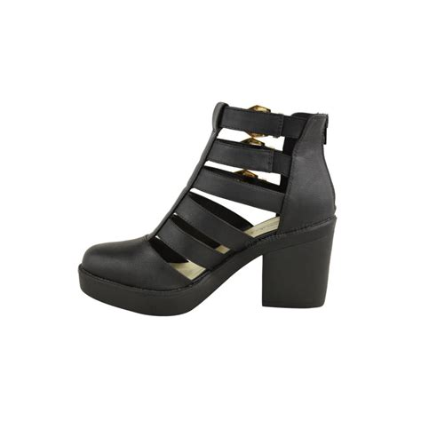 evie black block heel gold buckle cut out ankle boots