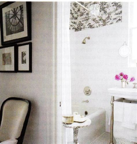 black and white toile wallpaper bathroom marble accent table transitional bathroom elle decor