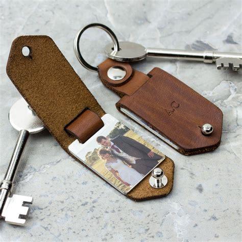 Leather Keyring personalised metal photo keyring with leather photo