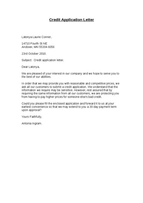 Request Letter Sle For Credit Facility Credit Application Letter Template Drureport339 Web Fc2