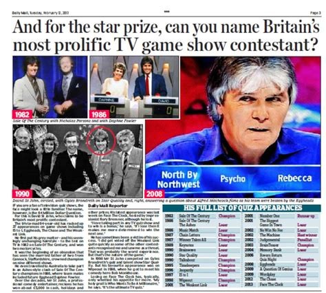 daily film quiz film quiz daily mail david st john tv quiz show freak