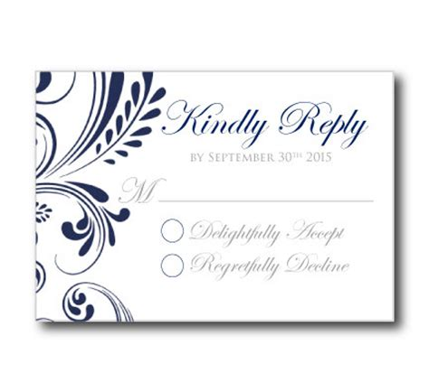 rsvp template word wedding rsvp response card template navy wedding by clearylane