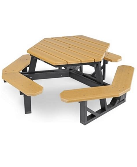 used picnic table hexagon recycled plastic picnic table park warehouse