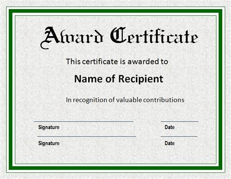 template for certificate of award awards certificate templates certificate templates