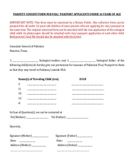 Parents Consent Letter For Student Visa Sle Parental Consent Form 9 Exles In Pdf