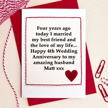 personalised 4th wedding anniversary card by jenny arnott
