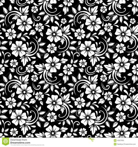 vintage pattern black and white vector vintage seamless white floral pattern on a black