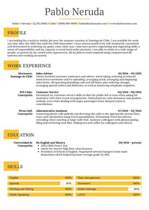 Resume 6 Second Rule by Student Resume Summer Resume Sles Career Help
