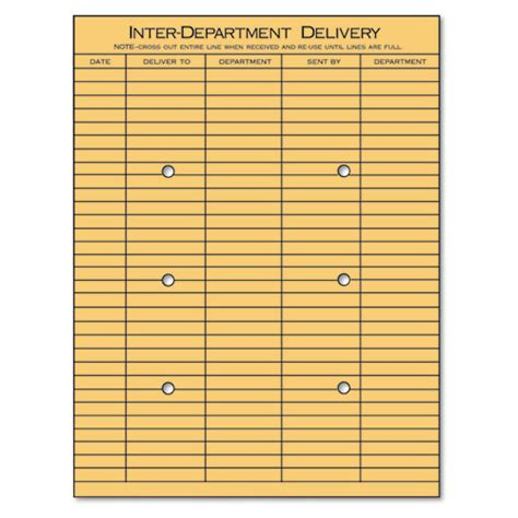 Interoffice Mail Envelope Template light brown kraft string button interoffice envelope 10