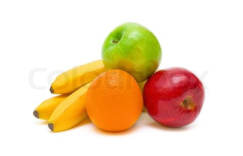 apple and banana ripe and juicy apples oranges and bananas on white