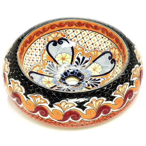 hand painted vessel mexican hortencia round vessel hand painted bathroom basin