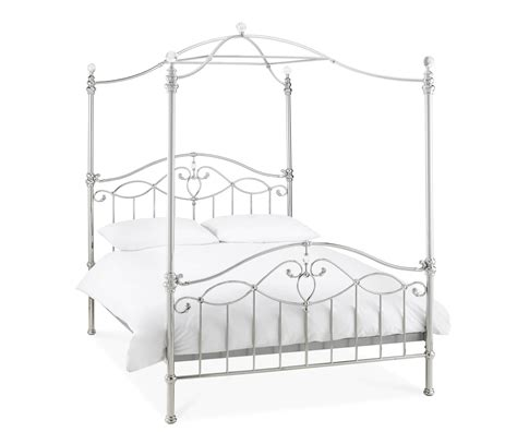 Metal Bed Frame Designs Bentley Designs Canopy Shiny Nickel Metal Bed Frame Bedsdirectuk Net