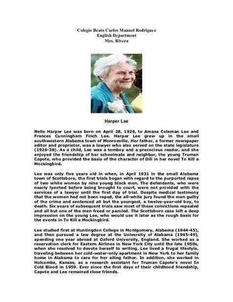 biography slideshare harper lee biography