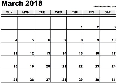 March 2018 Calendar Template Calendar Printable Free Free Downloadable Calendar Template