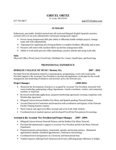 receptionist resume sle skills bilingual receptionist resume exles front desk sle