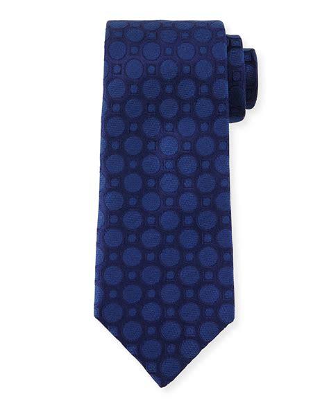 charvet large dot print silk tie in blue for navy lyst