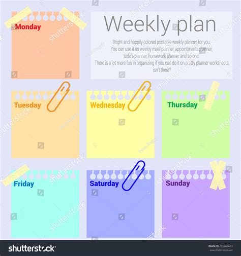 week info infographic elements post it note weekly plan weekly