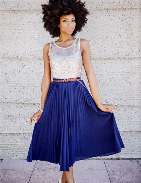 large hair pleats sequins and cobalt blue knife pleated maxi skirt chic