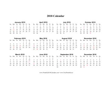 printable calendar 2018 horizontal printable 2018 calendar horizontal descending holidays in