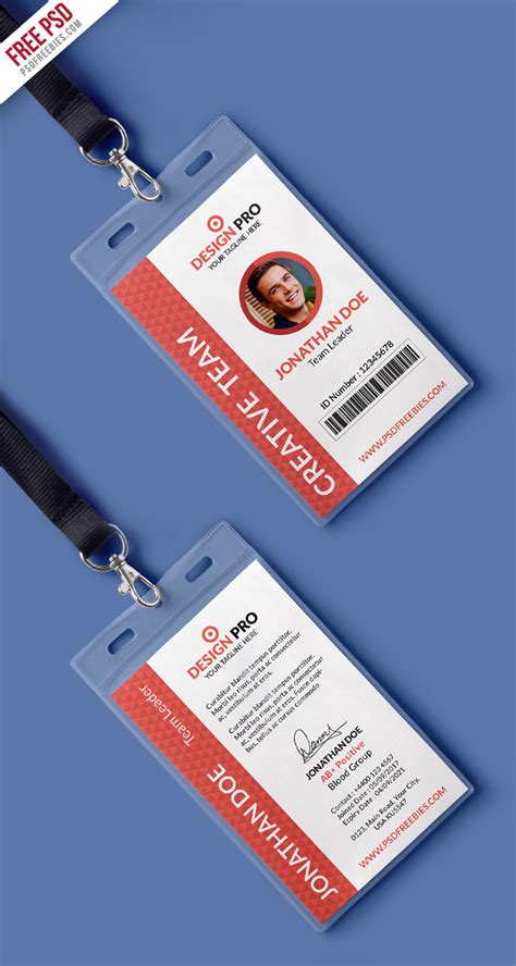 amazing id card design free psd office identity card template psd free psd
