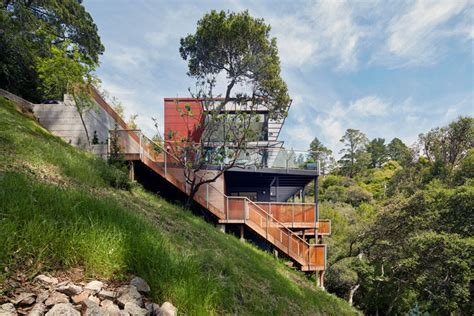 Split Level Floor Plans this new home lives on a steep hillside just outside of