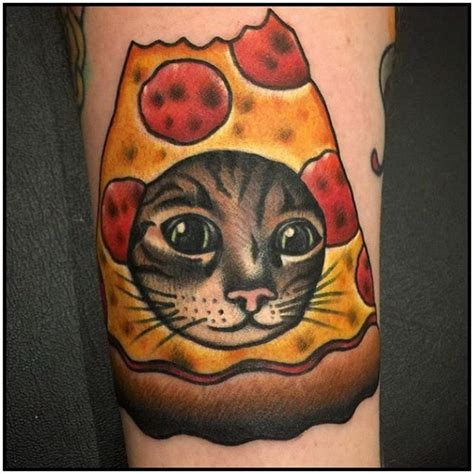 cat face tattoo 100 pizza tattoos golfian