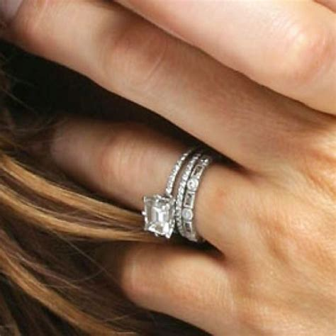 stacked eternity wedding bands kate beckinsale s east west emerald cut engagement ring