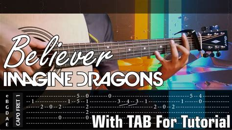 fingerstyle cover tutorial tab tutorial on screen believer imagine dragons