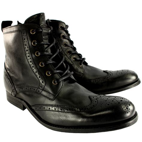 mens black brogue boots uk mens h by hudson angus brogue leather lace up smart ankle