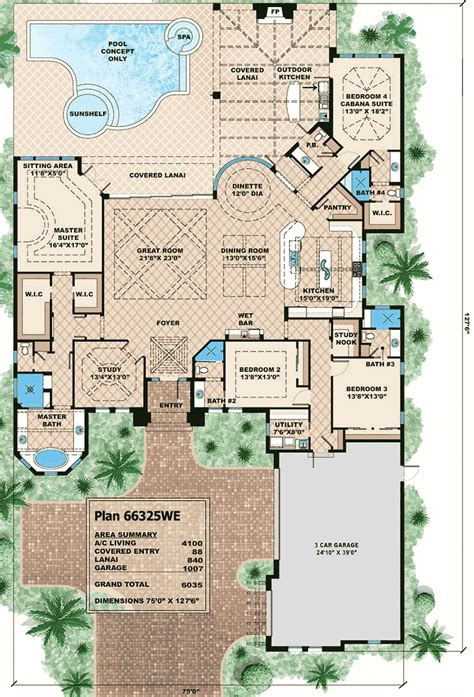 outdoor living floor plans plan 66325we 4 bed stunner with outdoor living outdoor living and sitting area